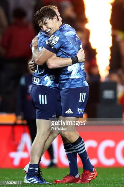 Beauden Barrett of the Blues celebrates after winning the round 2 Super Rugby Aotearoa match between the Chiefs and the Blues at FMG Stadium Waikato...