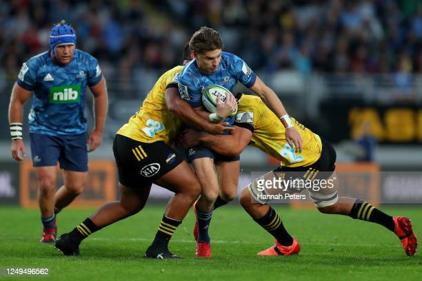 Beauden Barrett of the Blues charges forward during the round 1 Super Rugby Aotearoa match between the Blues and the Hurricanes at Eden Park on June...