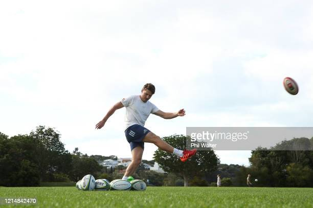 Beauden Barrett of the Blues during a solo kicking training session in isolation at the Shore Road fields on March 26, 2020 in Auckland, New Zealand....