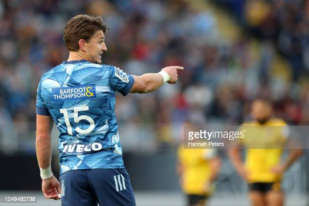 Beauden Barrett of the Blues gives instructions during the round 1 Super Rugby Aotearoa match between the Blues and the Hurricanes at Eden Park on...