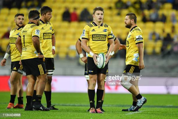 Beauden Barrett of the Hurricanes before kickoff the round 4 Super Rugby match between the Wellington Hurricanes and Otago Highlanders at Westpac...