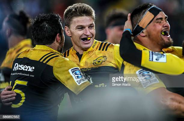 Beauden Barrett of the Hurricanes celebrates after the Hurricanes won the 2016 Super Rugby Final match between the Hurricanes and the Lions at...