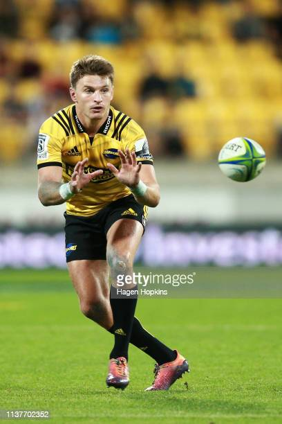 Beauden Barrett of the Hurricanes in action during the round six Super Rugby match between the Hurricanes and the Stormers at Westpac Stadium on...