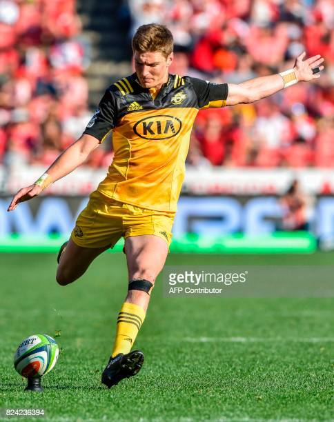 Beauden Barrett of the Hurricanes kicks the ball towards the goal during the Super Rugby semifinal match between Lions and Hurricanes at Ellis Park...