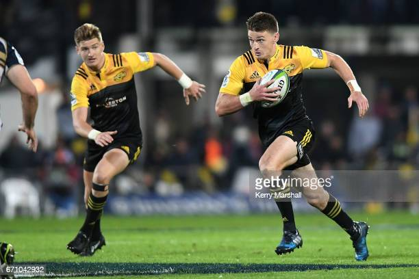 Beauden Barrett of the Hurricanes makes a break during the round nine Super Rugby match between the Hurricanes and the Brumbies at McLean Park on...