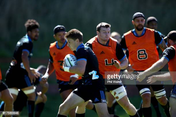 Beauden Barrett of the Hurricanes runs the ball during a Hurricanes Super Rugby training session at Rugby League Park on February 13 2018 in...