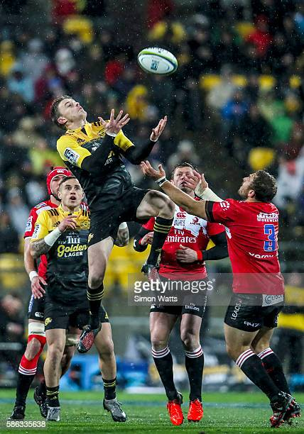 Beauden Barrett of the Hurricanes takes a high ball during the 2016 Super Rugby Final match between the Hurricanes and the Lions at Westpac Stadium...