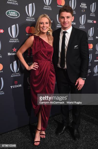 Beauden Barrett of the New Zealand All Blacks and Hannah Laity attend the World Rugby via Getty Images Awards 2017 in the Salle des Etoiles at...