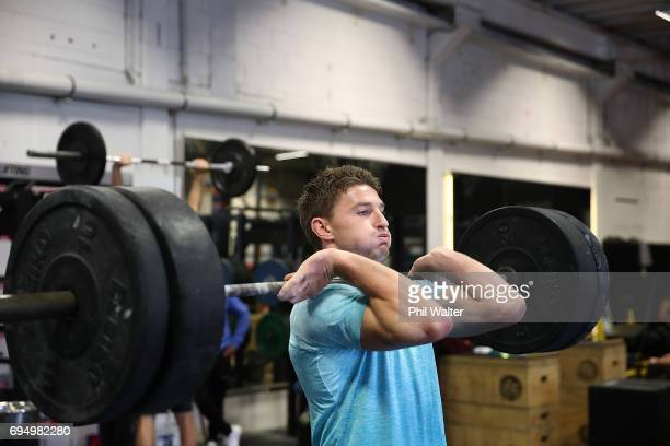Beauden Barrett of the New Zealand All Blacks during a gym session at Les Mills on June 12 2017 in Auckland New Zealand