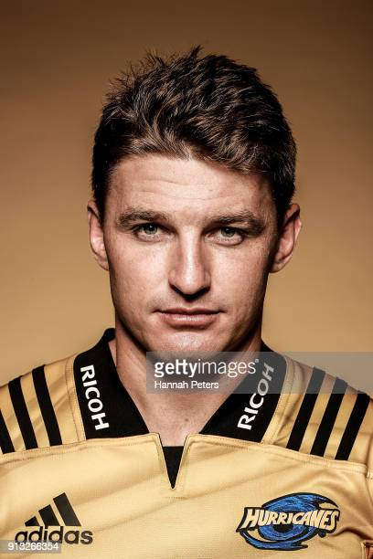 Beauden Barrett poses during the Wellington Hurricanes 2018 Super Rugby headshots session on January 22 2017 in Auckland New Zealand