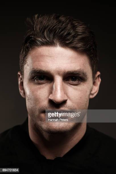 Beauden Barrett poses for a portrait during the New Zealand All Blacks Headshots Session on June 11 2017 in Auckland New Zealand