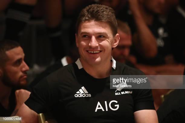 Beauden Barrett smiles during the New Zealand All Blacks team photo session at Hilton Tokyo Bay on October 31 2018 in Urayasu Chiba Japan