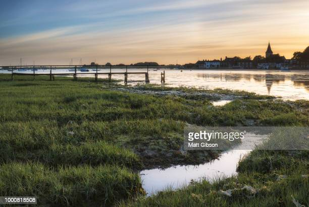 Beauitful panorama landscape over Bosham Harbour in Summer at su