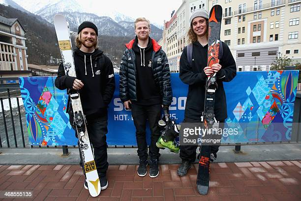 BeauJames Wells Jossi Wells and Byron Wells of Wanaka New Zealand pose for a photo in the Rosa Khutor ski village during the 2014 Winter Olympic...