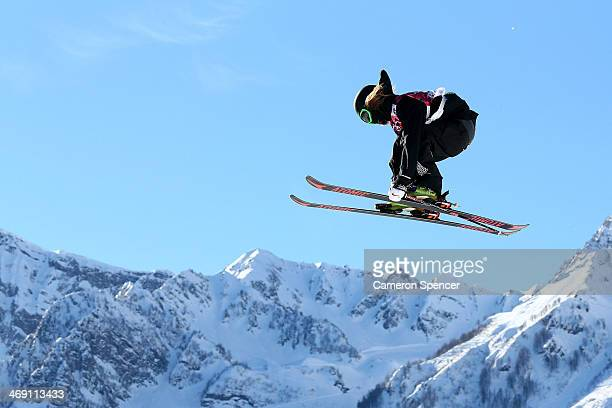 BeauJames Wells of New Zealand competes in the Freestyle Skiing Men's Ski Slopestyle Qualification during day six of the Sochi 2014 Winter Olympics...