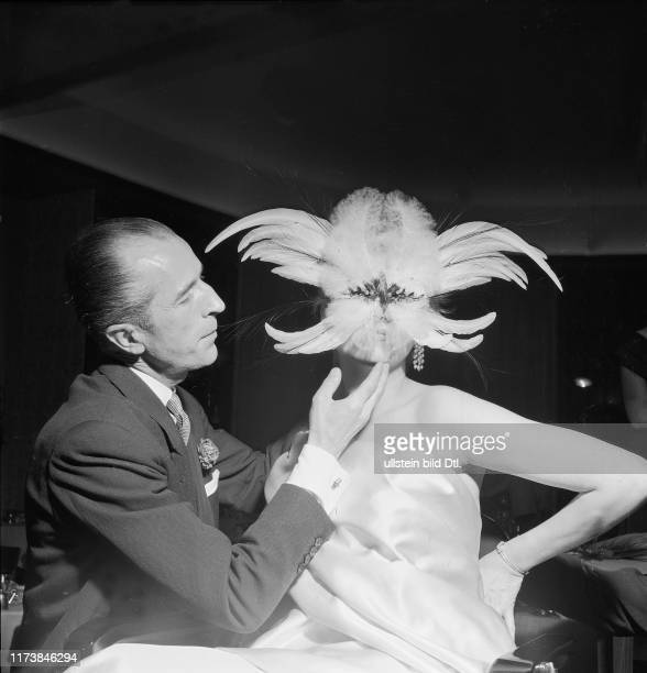 Beautician Fernand Aubry with model, ca. 1955