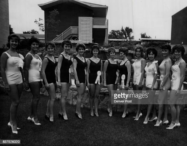 Beauties Compete in Swimsuit Phase of Miss Colorado Contest Posing beside ContinentalDenver Motor Hotel pool Friday are from left Dianne Cathey...
