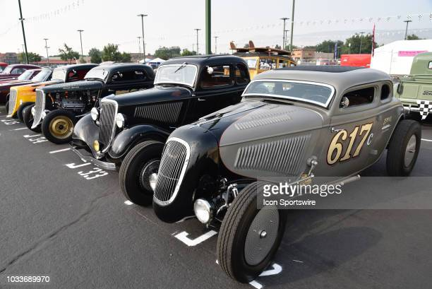 Beautiful 1933 and 1934 Ford roadsters lined up on display at the Hot August Nights Custom Car Show the largest nostalgic car show in the world on...