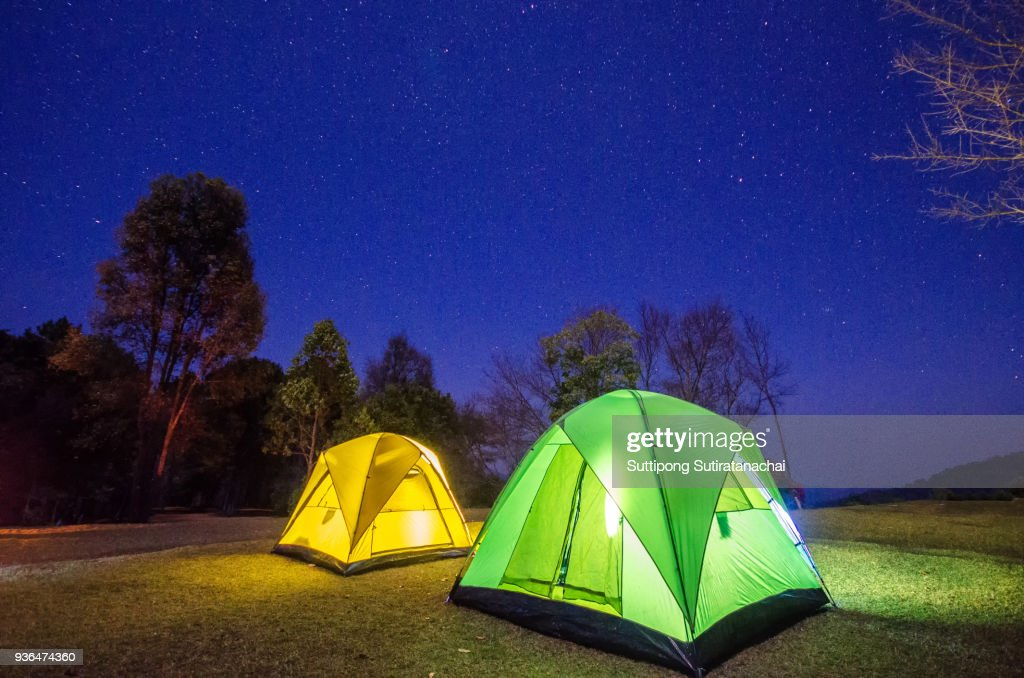 Beautiful Adventure In The Night Camping Tent Forest At With Star