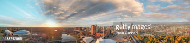 beautiful aerial panoramic view of adelaide at dusk, south australia - adelaide stock pictures, royalty-free photos & images