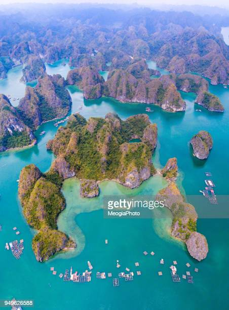beautiful aerial sea landscape of lan ha bay - bay of water stock pictures, royalty-free photos & images