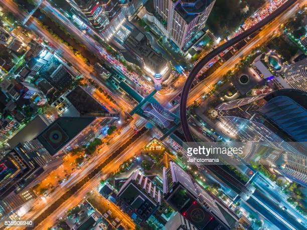 Beautiful Aerial Thailand top view expressway road at night