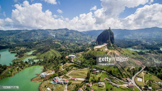 beautiful aerial view of a natural reservoir - medellin colombia stock pictures, royalty-free photos & images