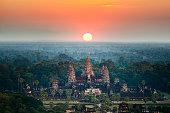 Beautiful aerial view  of Angkor Wat at sunrise ,Cambodia