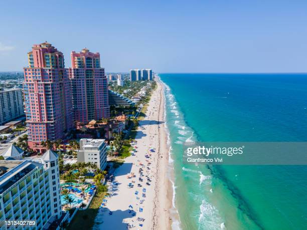 beautiful aerial view of central beach in fort lauderdale - fort lauderdale - fotografias e filmes do acervo