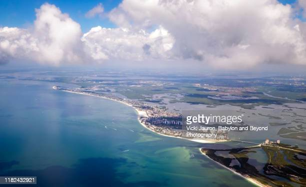 beautiful aerial view of estero island and fort myers beach, florida - fort myers beach stock pictures, royalty-free photos & images