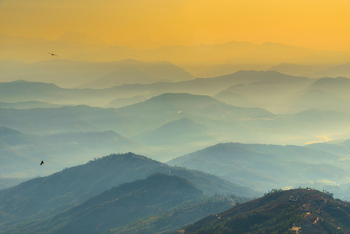 Beautiful aerial view of Himalayas mountain and hills with morning fog during sunrise in Nagarkot, Nepal. - gettyimageskorea