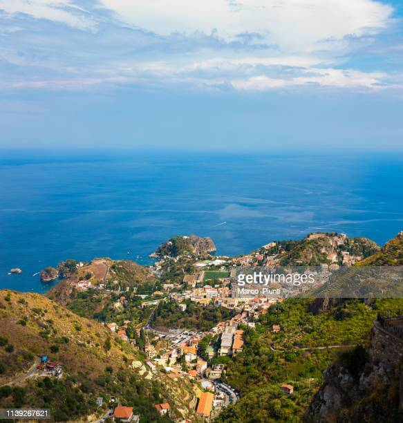 beautiful aerial view of taormina (sicily, italy) - taormina stock pictures, royalty-free photos & images