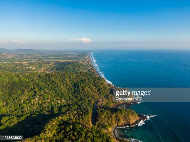 beautiful aerial view of the beach town of jaco in costa rica - guanacaste stock pictures, royalty-free photos & images