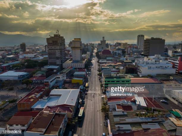 beautiful aerial view of the empty streets of san jose and the central avenue - empty streets stock pictures, royalty-free photos & images