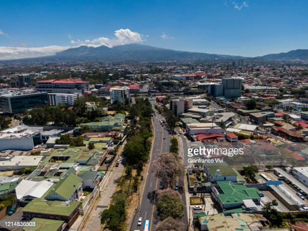 beautiful aerial view of the empty streets  of san jose costa rica - empty streets stock pictures, royalty-free photos & images