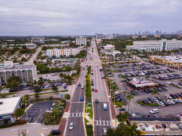 Beautiful aerial view of the Super Highways of Miami