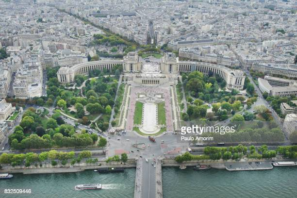 Beautiful Aerial view of the Trocadero in Paris