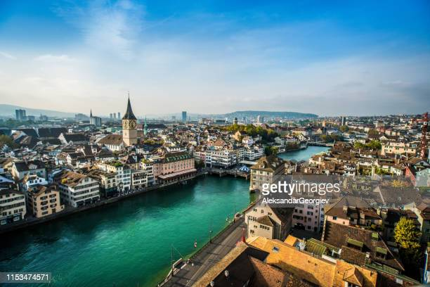 beautiful aerial view of zurich, switzerland - switzerland stock pictures, royalty-free photos & images