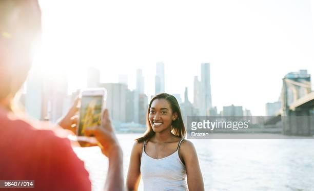 Beautiful Afircan American woman traveling across USA