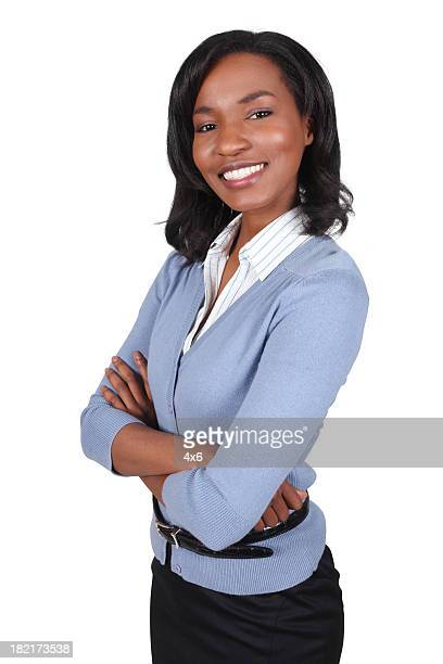 Beautiful African American Business Woman Folding Arms