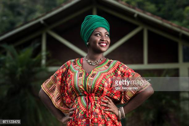 Beautiful african american woman in typical afro clothing