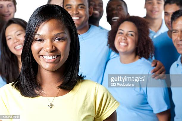 Beautiful African American Woman with team