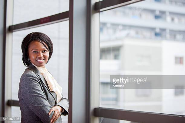 Beautiful African Businesswoman looking at the camera