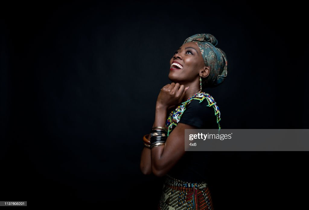 Beautiful African Female In Traditional Clothing Stock Photo