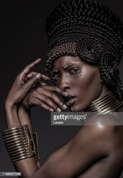 beautiful african nefertiti woman - egyptian culture stock photos and pictures