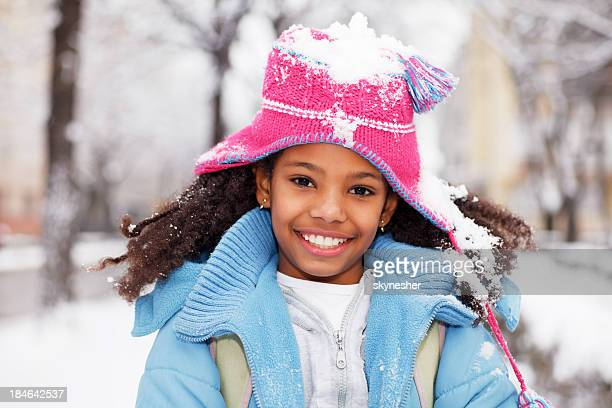 beautiful african-american girl looking at the camera. - black coat stock pictures, royalty-free photos & images