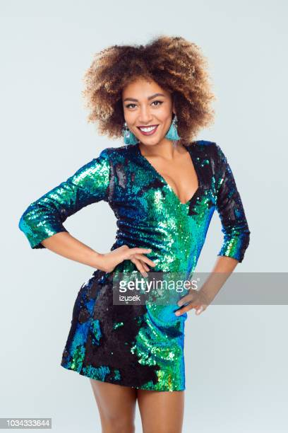 beautiful afro american young in sequined dress - sequin dress stock pictures, royalty-free photos & images