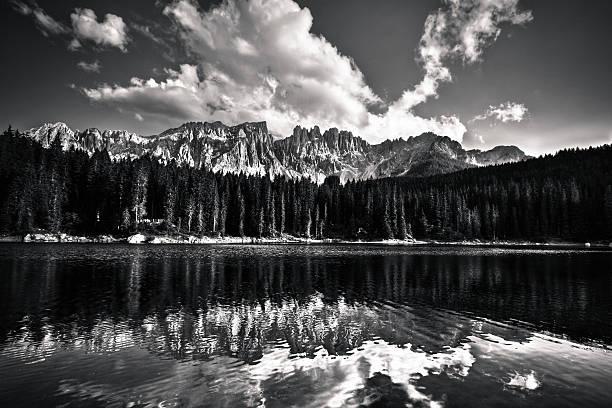 """Beautiful Alpine Lake Reflection, Dolomites, Italy, Black and Wh"""