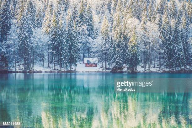 Beautiful Alps in Winter Lake Reflections