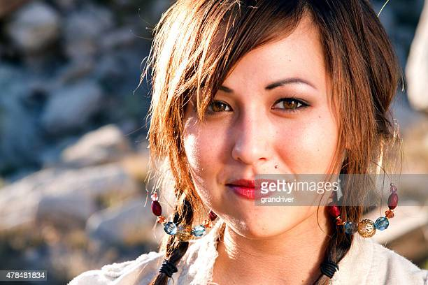 beautiful american indian girl portrait - indigenous culture stock pictures, royalty-free photos & images